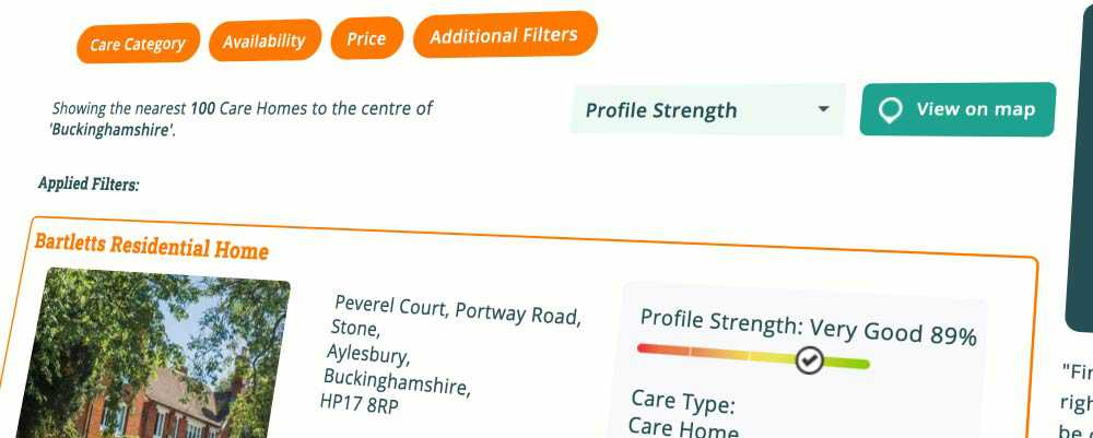 Bartletts Residential has the highest profile score on Autumna for Buckinghamshire care homes