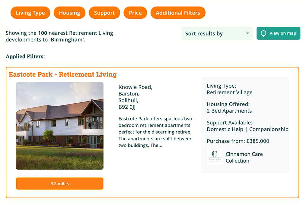 Retirement Living on Autumna features properties, communities and villages.