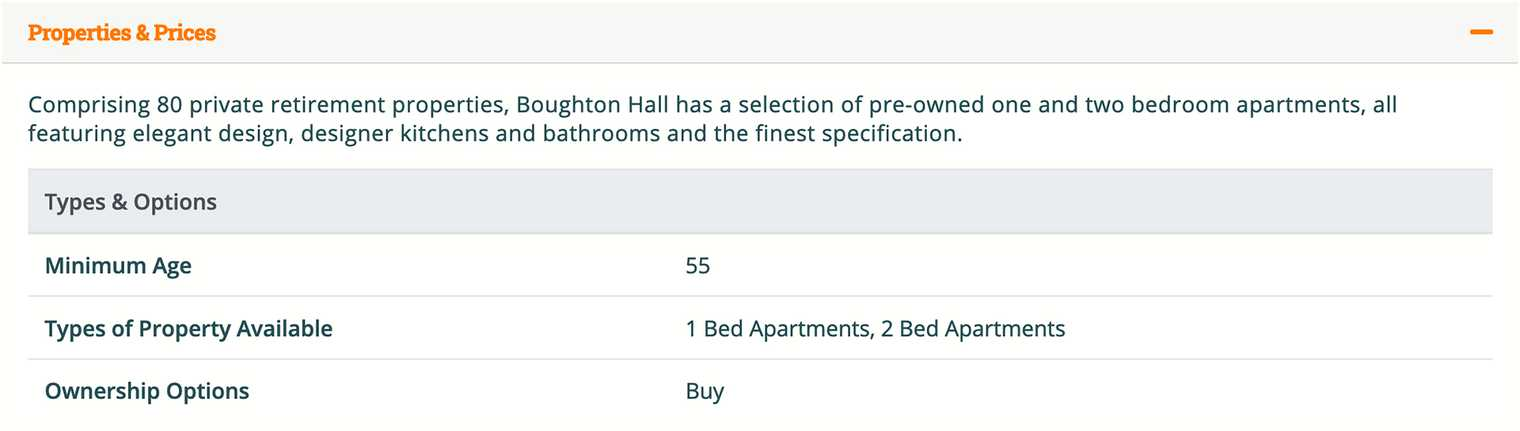 Boughton Hall in Chester has retirement living apartments for sale but not rental