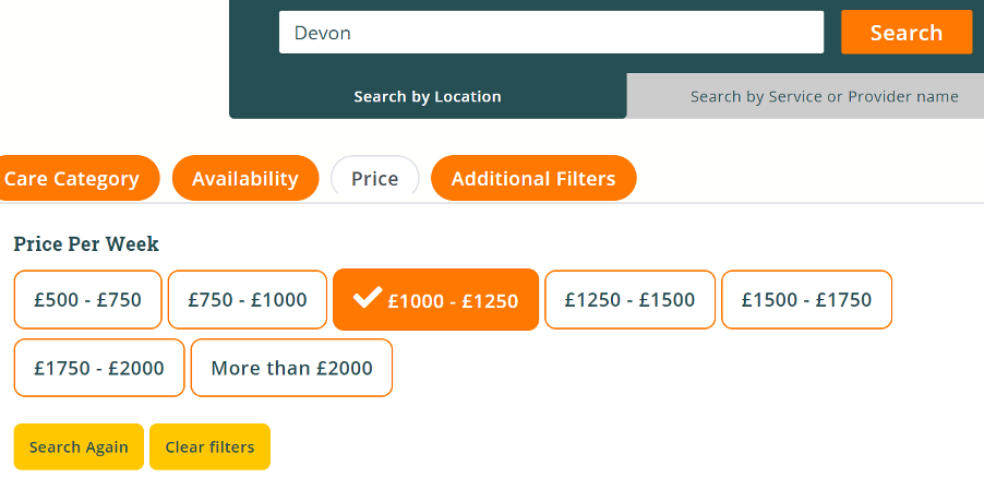 Select the care home price bracket that you think you can afford